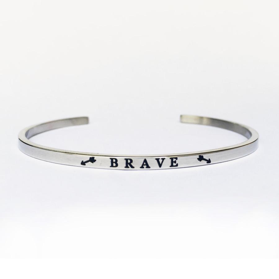 """BRAVE"" Stainless Steel Cuff Bracelet"
