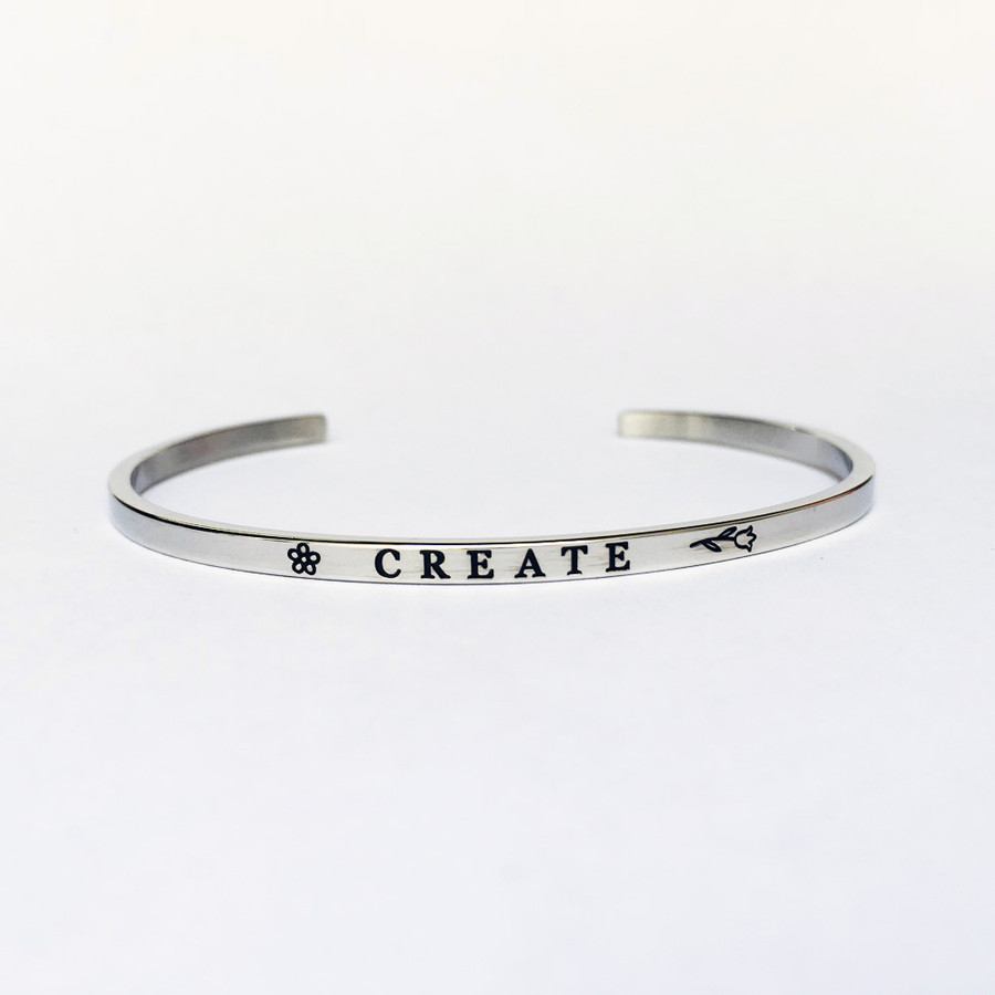 """CREATE"" Stainless Steel Cuff Bracelet"