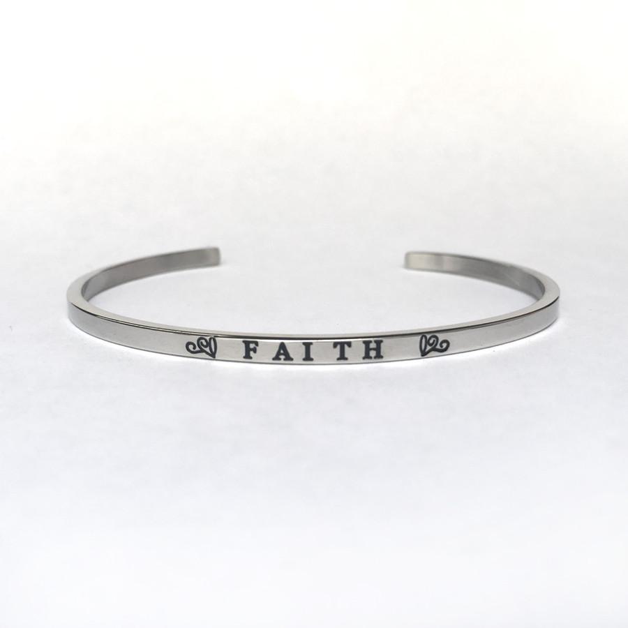 """FAITH"" Stainless Steel Cuff Bracelet"