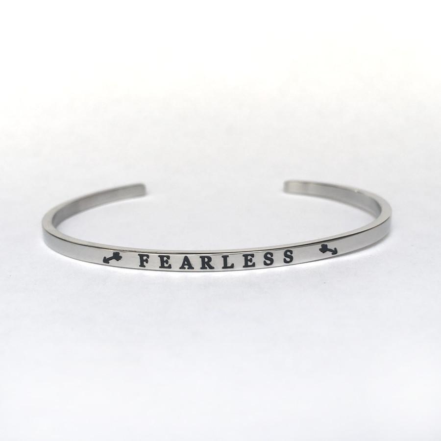 """""""FEARLESS"""" Stainless Steel Cuff Bracelet"""