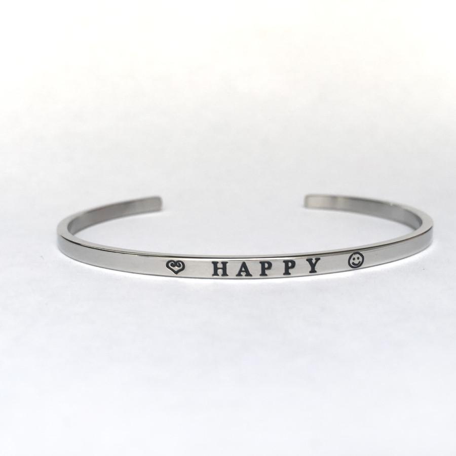 """""""HAPPY"""" Stainless Steel Cuff Bracelet"""