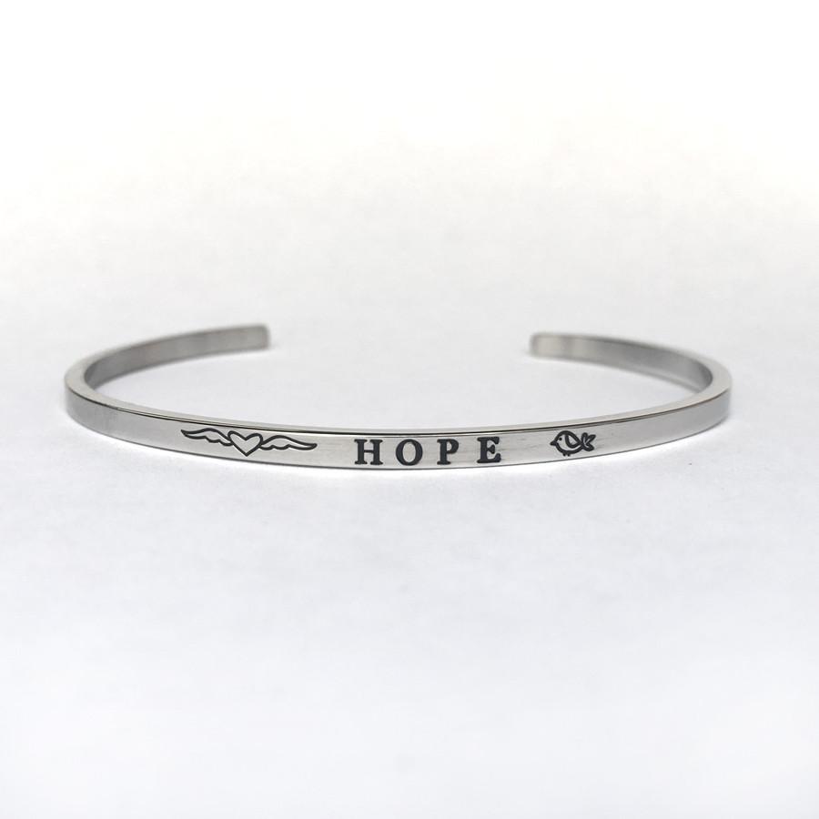 """HOPE"" Stainless Steel Cuff Bracelet"