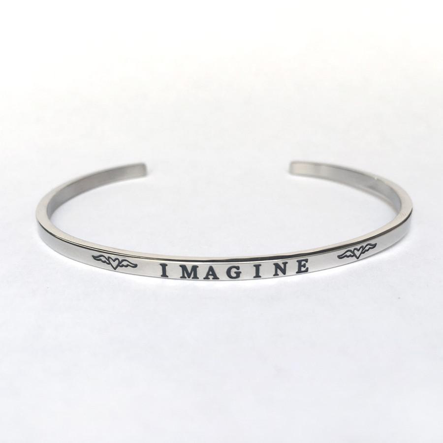 """IMAGINE"" Stainless Steel Cuff Bracelet"