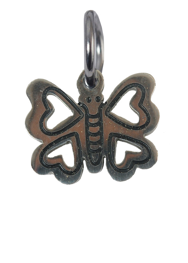 Butterfly with Heart Wings Stainless Steel Charm