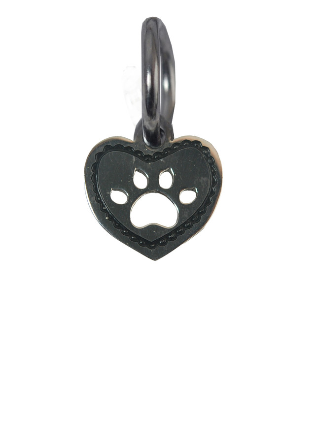 Heart with Paw Print Stainless Steel Charm
