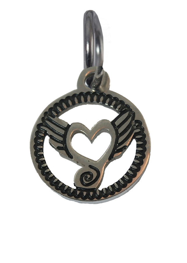Heart with Wings Stainless Steel Charm