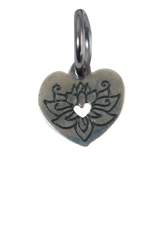 Heart with Lotus Stainless Steel Charm