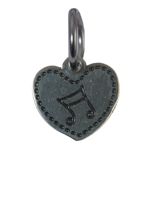 Heart with Music Note Stainless Steel Charm
