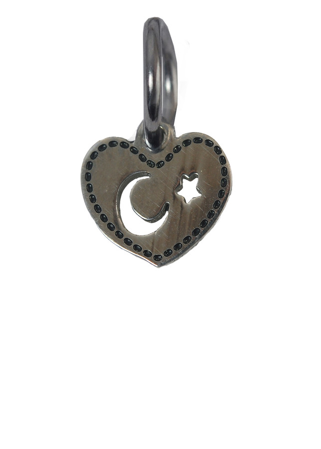 Heart with Moon & Star Stainless Steel Charm