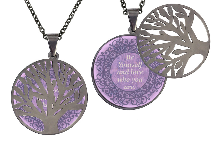 Poetry Tree - Be Yourself & Love Who You Are - Purple Background Stainless Steel Tree of Life on hinge.  Stainless Steel Chain