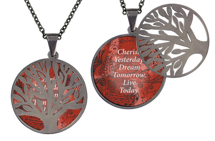 """Poetry Tree - Cherish Yesterday Dream Tomorrow Live Today Stainless Steel Tree of Life on Stainless Steel Chain. Nice Quality Substantial Weight. 28"""" Regular Stainless Steel Chain"""