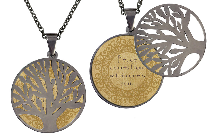"Poetry Tree - Gold Background - Peace Comes From Within One's Soul. Stainless Steel Tree of Life on Stainless Steel Chain. Nice Quality Substantial Weight. 28"" Regular Stainless Steel Chain W- 1 1/8, H- 1 1/8, D- 1/8"" (thick)"