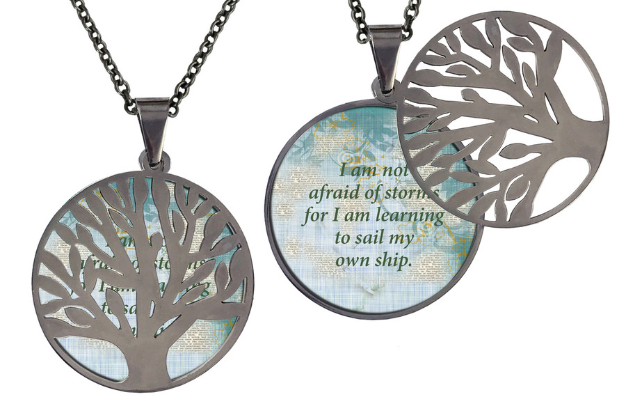 "Poetry Tree - Multi-Color Background - I Am Not Afraid Of Storms For I Am Learning To Sail My Own Ship. Stainless Steel Tree of Life on Stainless Steel Chain. Nice Quality Substantial Weight. 28"" Regular Stainless Steel Chain W- 1 1/8, H- 1 1/8, D- 1/8"" (thick)"