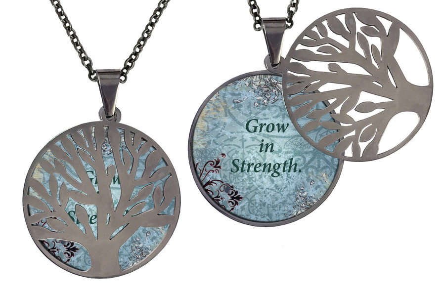 "Poetry Tree - Blue Background -Grow In Strength. Stainless Steel Tree of Life on Stainless Steel Chain. Nice Quality Substantial Weight. 28"" Regular Stainless Steel Chain W- 1 1/8, H- 1 1/8, D- 1/8"" (thick)"