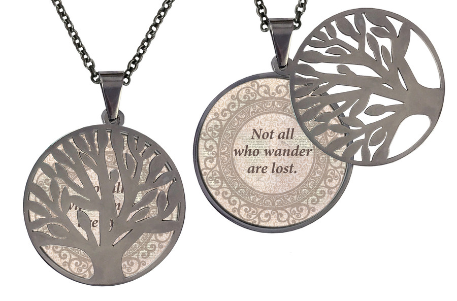 """Poetry Tree - Beige -Not All Who Wander Are Lost. Stainless Steel Tree of Life on Stainless Steel Chain. Nice Quality Substantial Weight. 28"""" Regular Stainless Steel Chain W- 1 1/8, H- 1 1/8, D- 1/8"""" (thick)"""