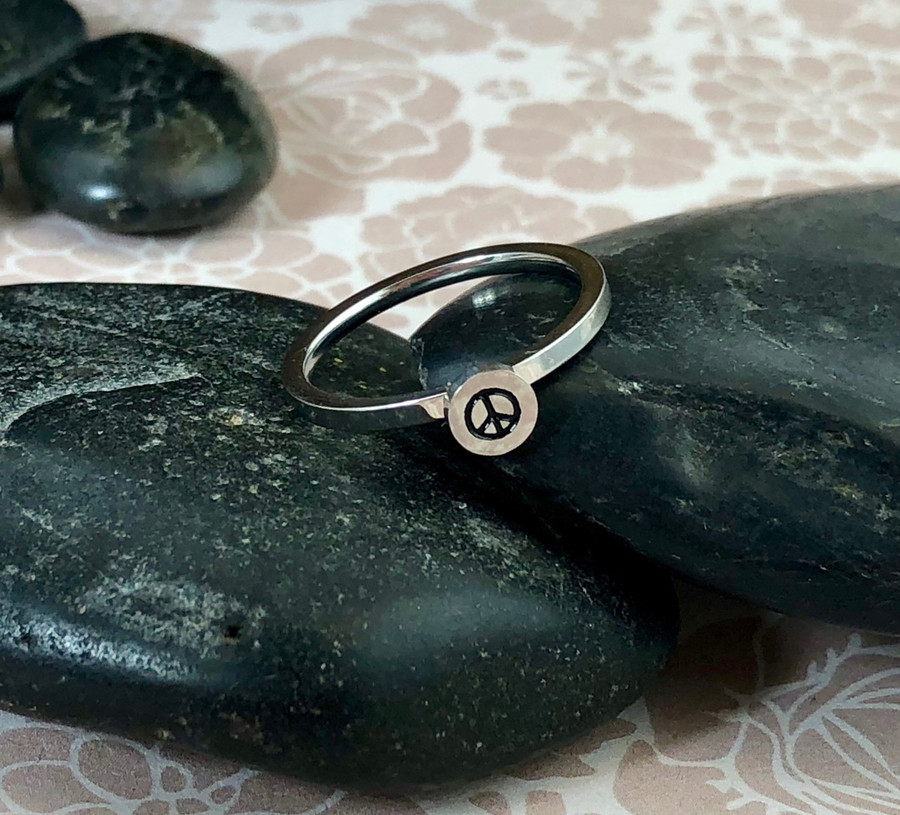 Peace Sign Stacking Art Ring