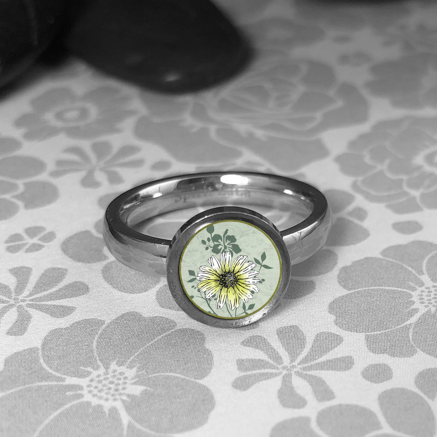 White Daisy Stainless Art Ring