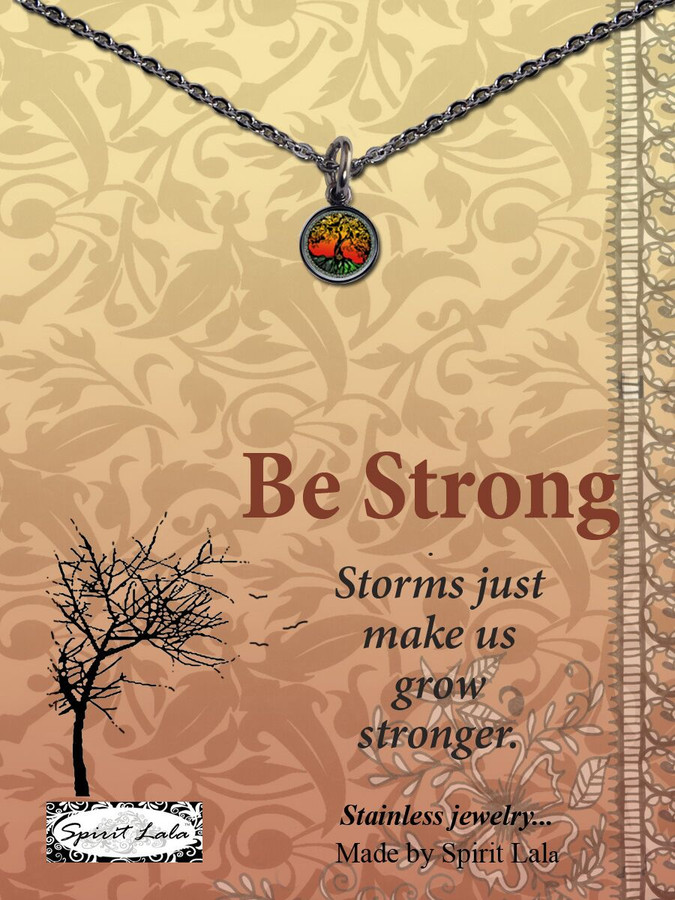 Carded Sunset Tree Small Circle Necklace