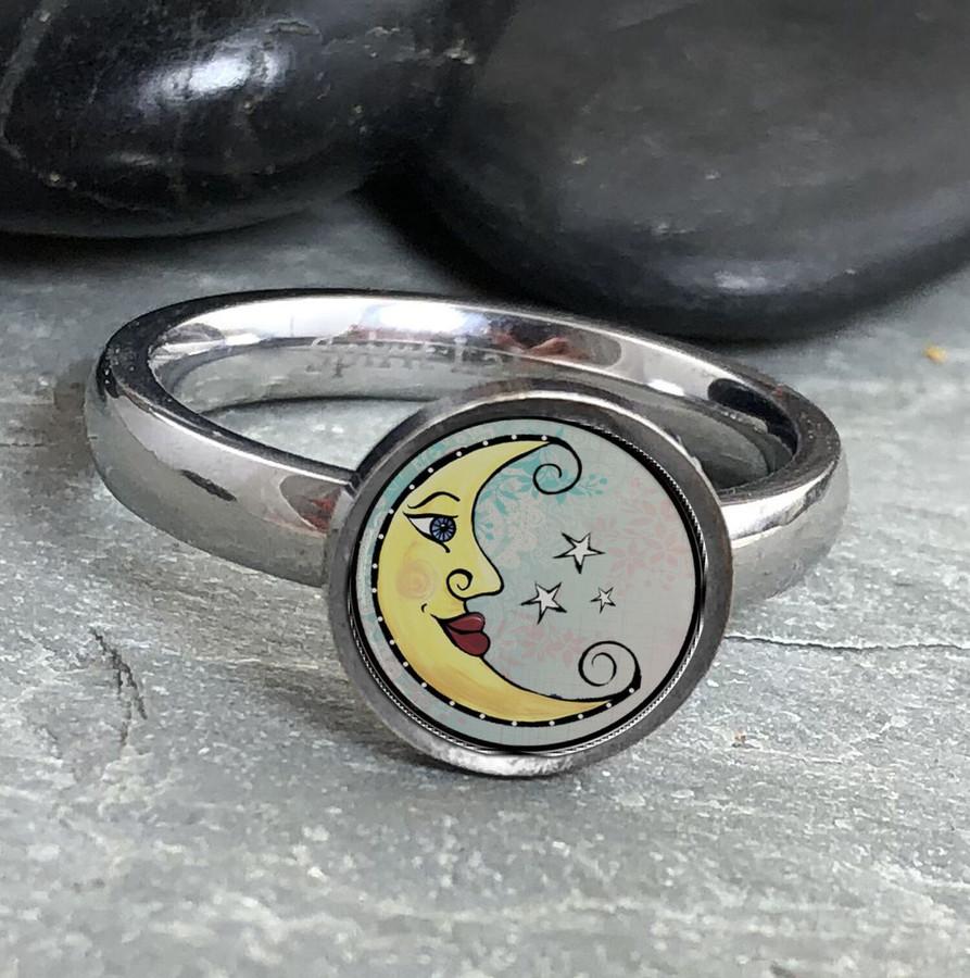 Moon Stainless Art Ring