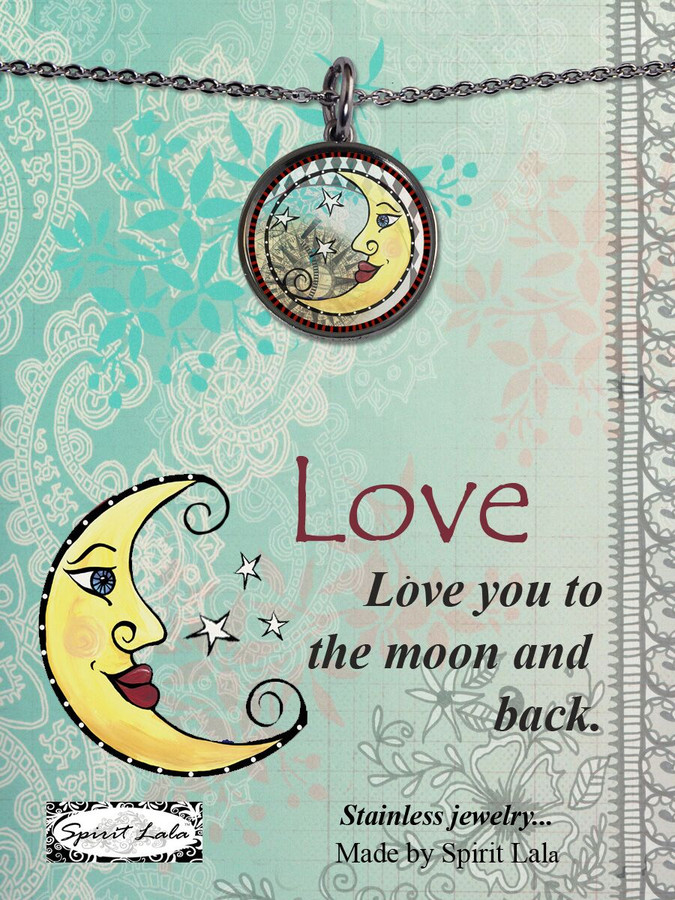 Carded Love You To The Moon Reversible Medium Circle Necklace