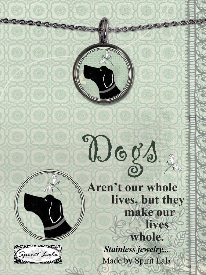 Carded Vintage Dog Reversible Medium Circular Necklace