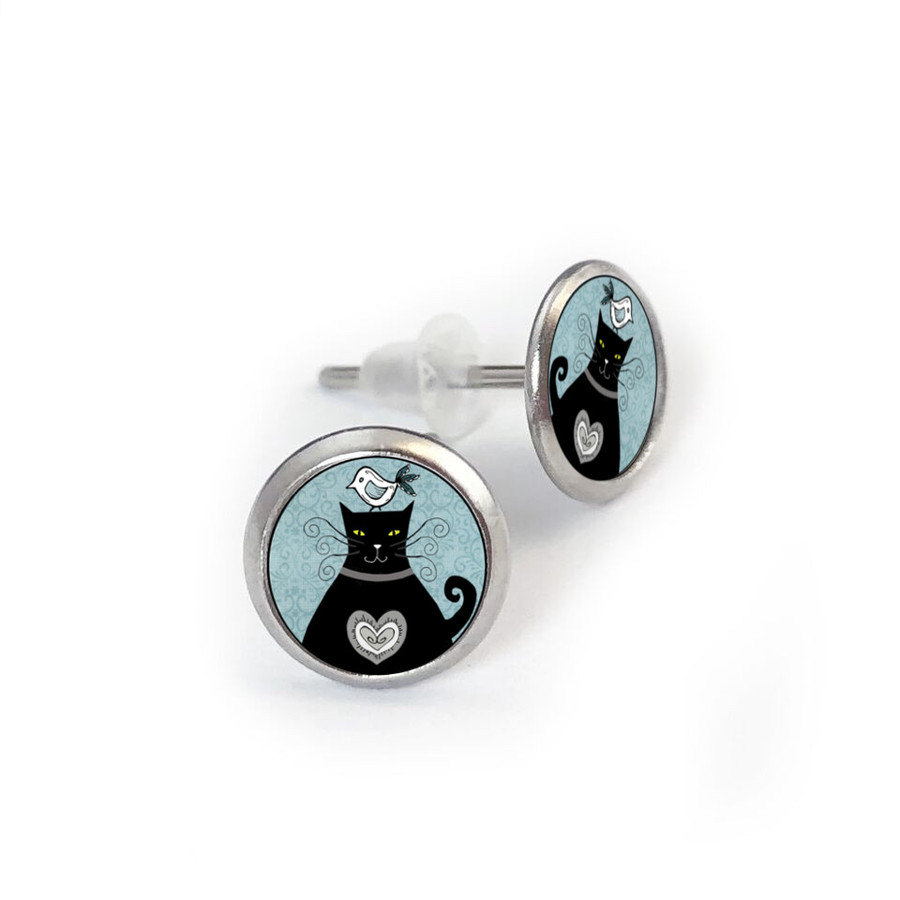 Vintage Cat Blue Stainless Stud Earring