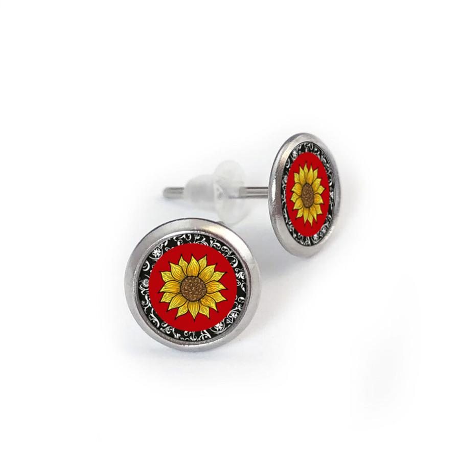 Red Sunflower Stainless Stud Earring