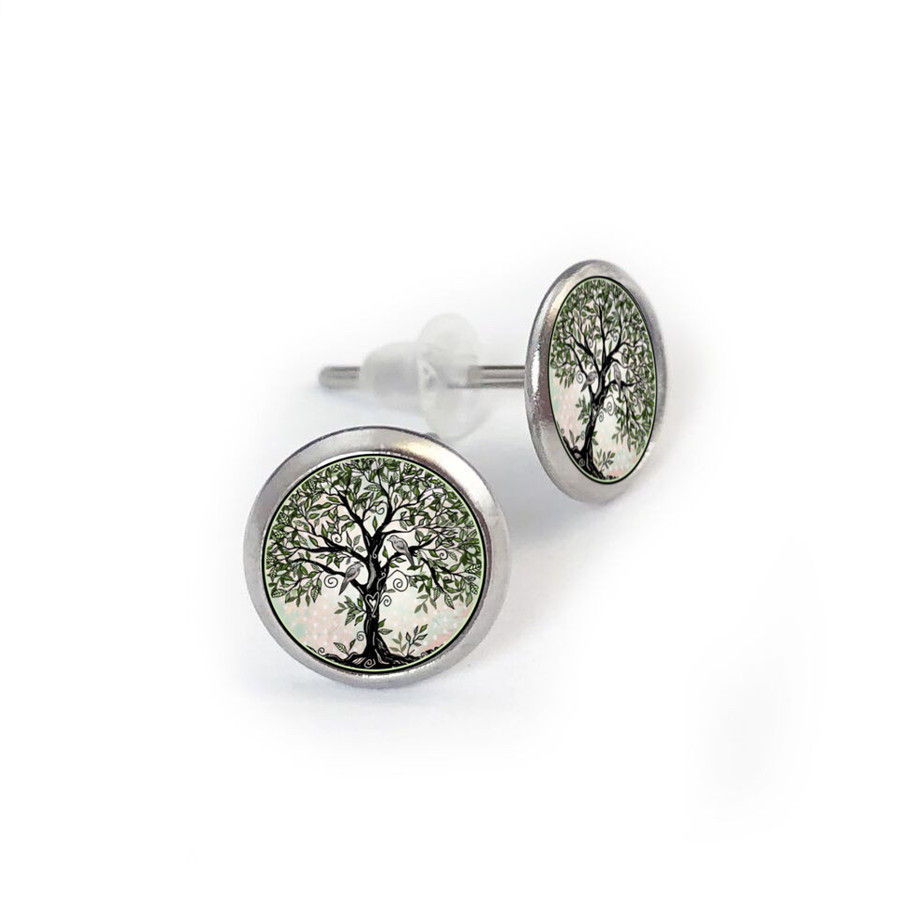 Tree of Life Green Stainless Stud Earring