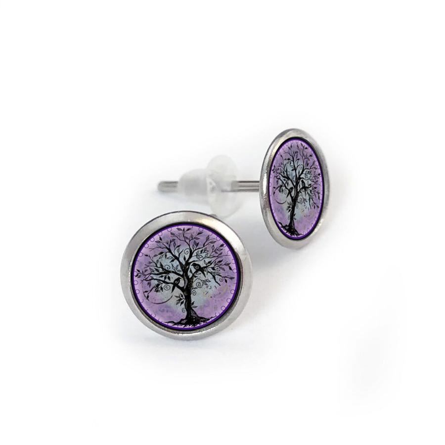 Tree of Life Purple Stainless Stud Earring
