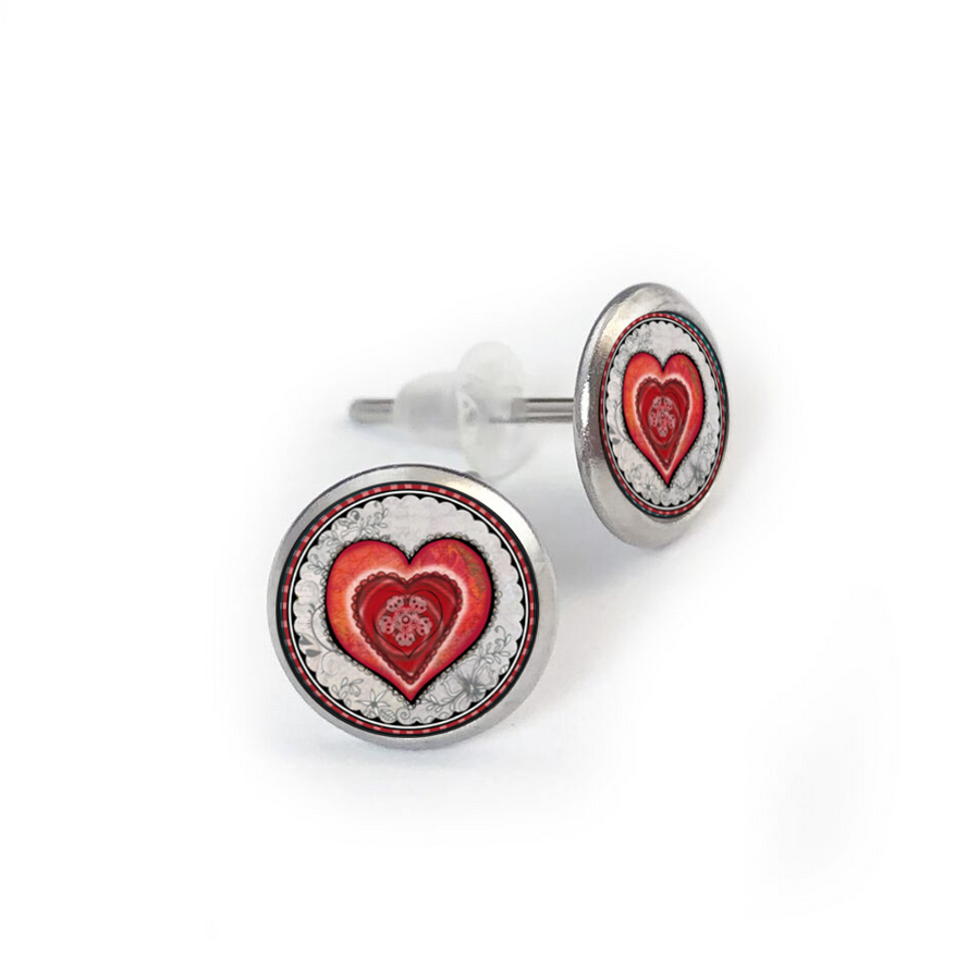 Red Heart Stainless Stud Earring