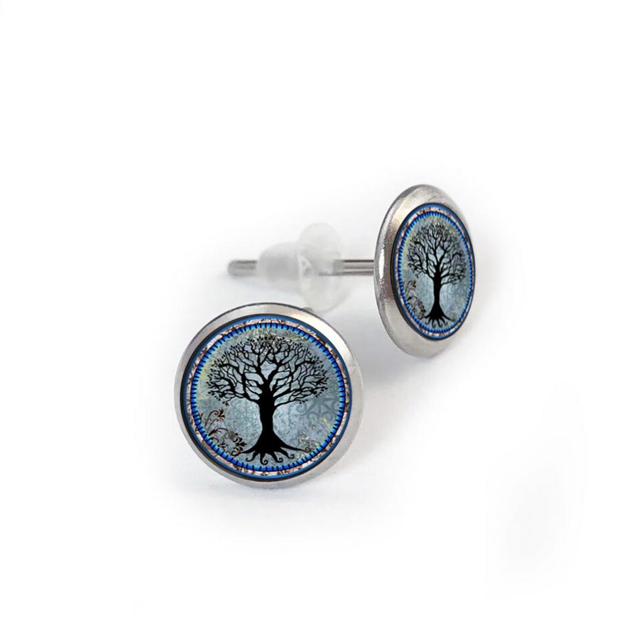 Tree of Life Dark Blue Stainless Stud Earring