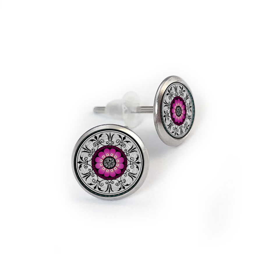 Fushia Medallion Stainless Stud Earring