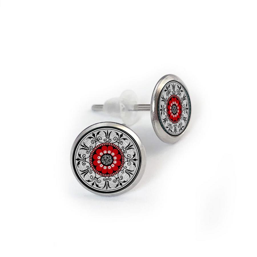 Red Medallion Stainless Stud Earring
