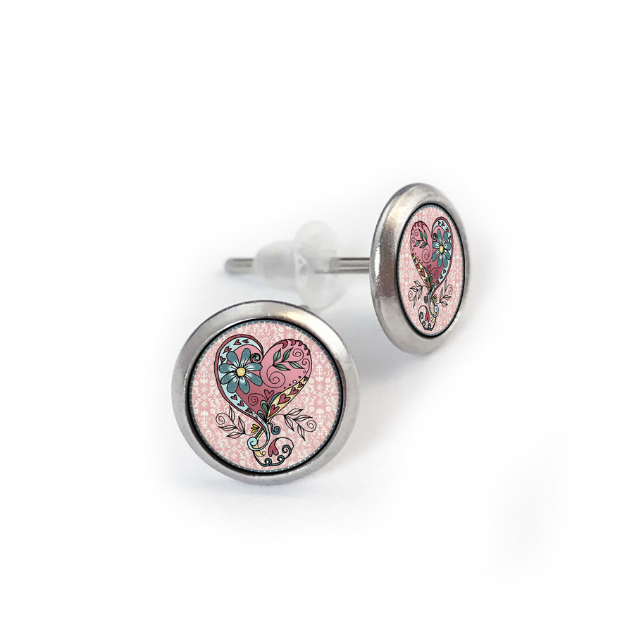 Pink Teal Heart Stainless Stud Earring