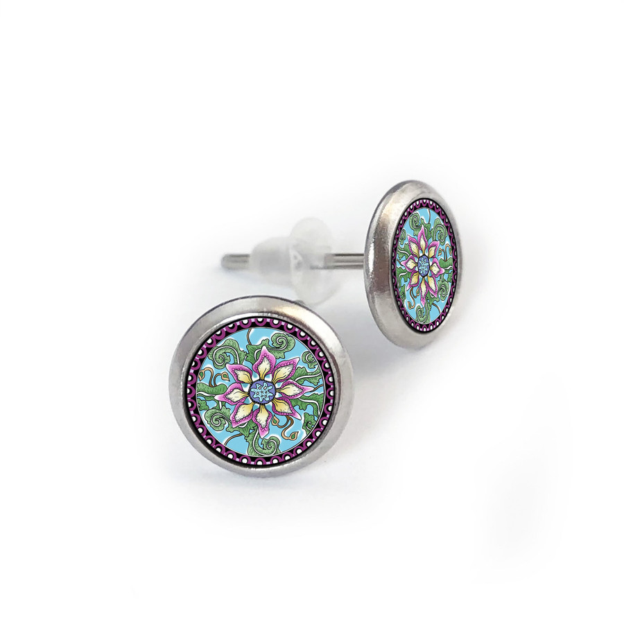 Passion Fruit Flower Stainless Stud Earring