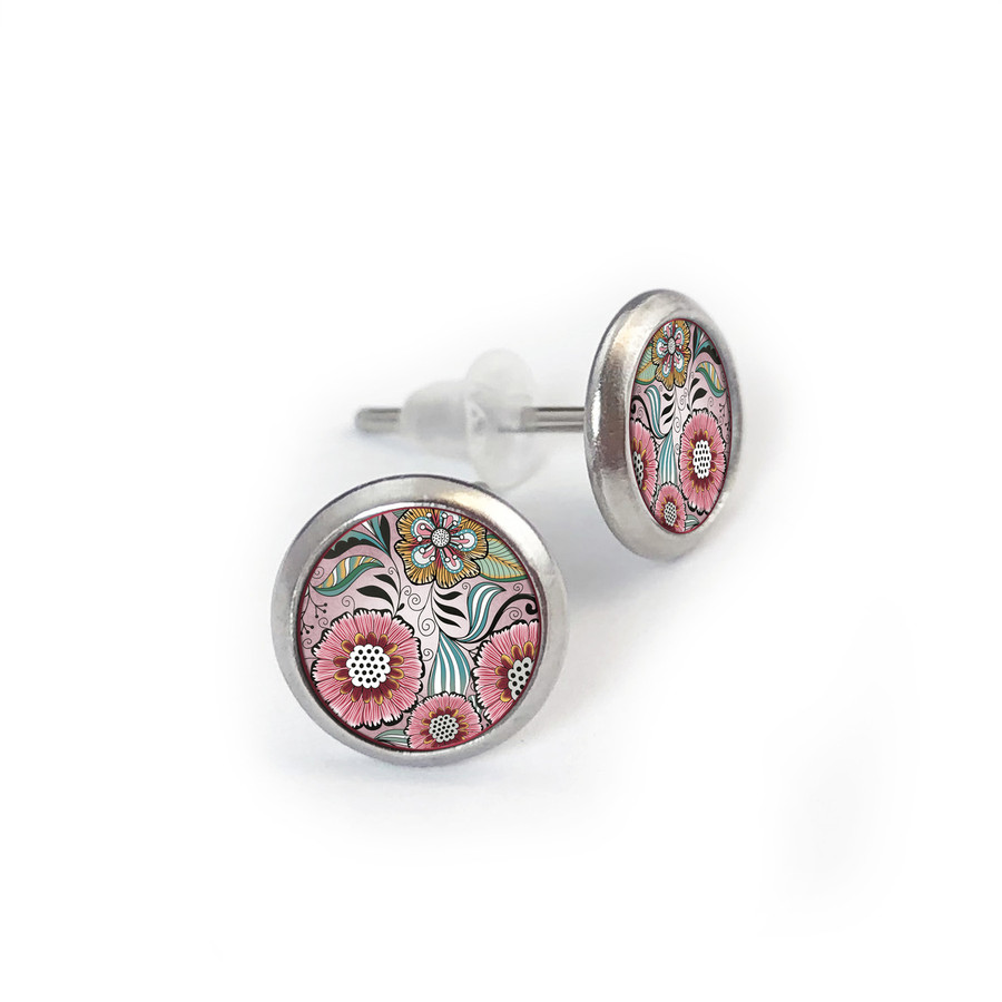 Pink Brown Flower Stainless Stud Earring