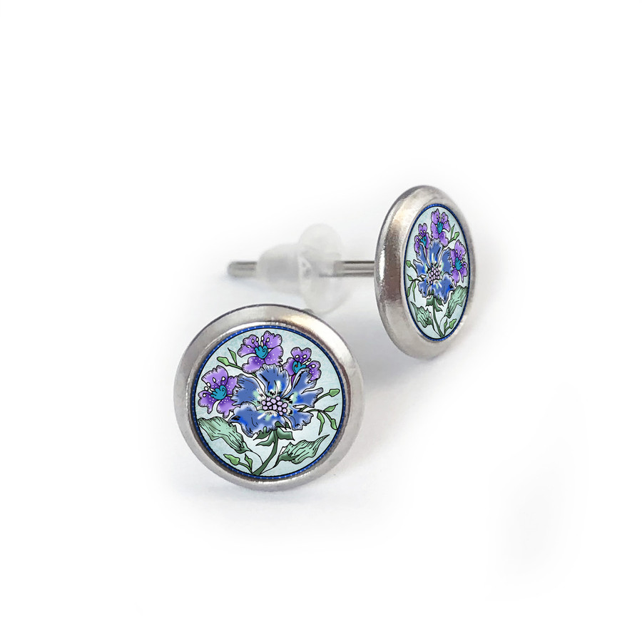 Blue Flower Mix Stainless Stud Earring