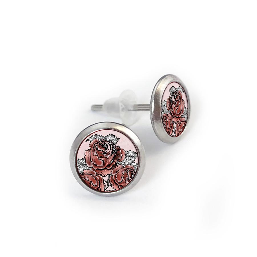 Retro Rose Stainless Stud Earrings