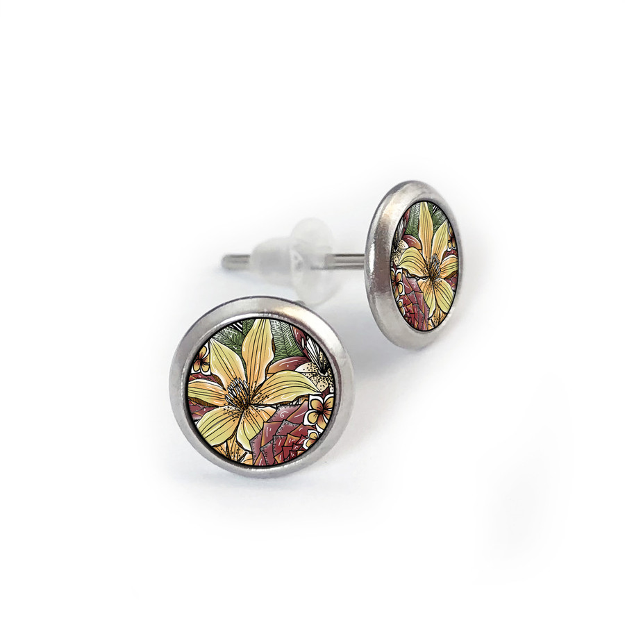 Mixed Floral Stainless Stud Earring