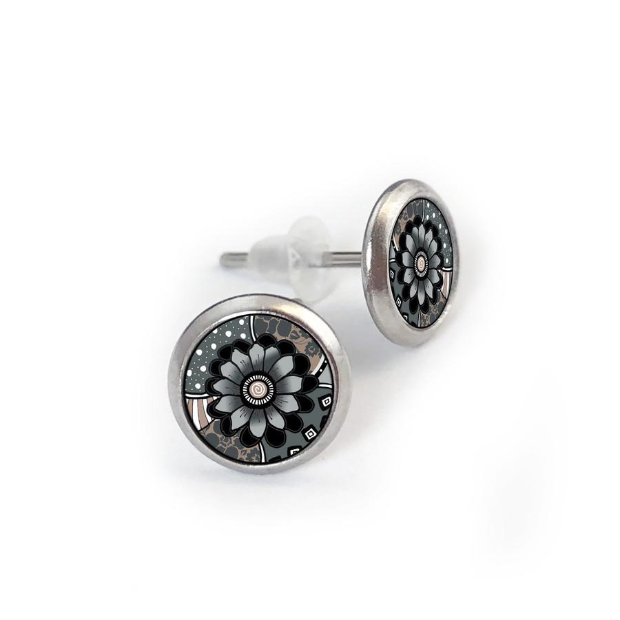 Gray Black Flower Stainless Stud Earring