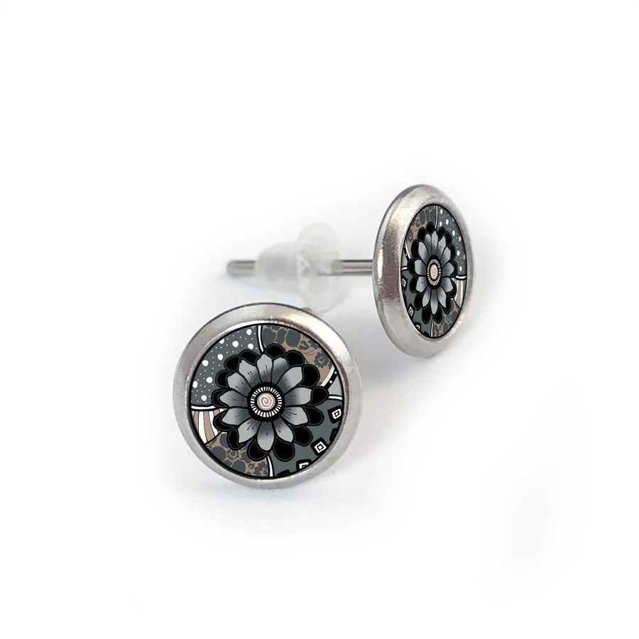 Black Grey Mix Stainless Stud Earring