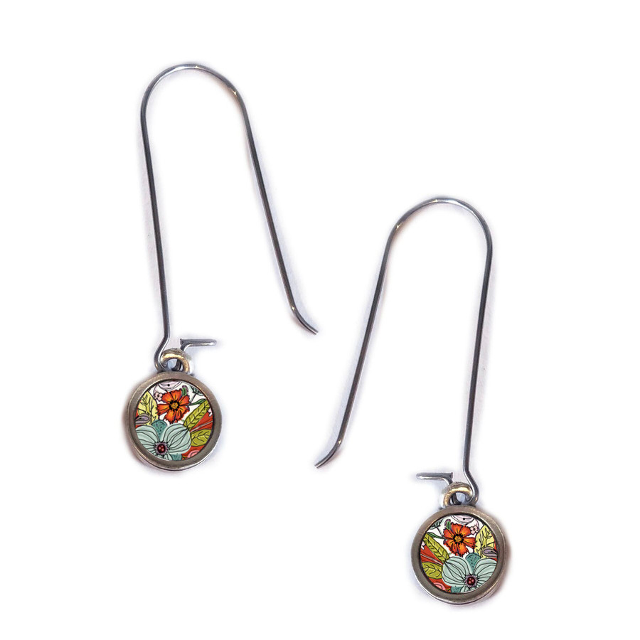Turquoise and Red Flower Circle Earring