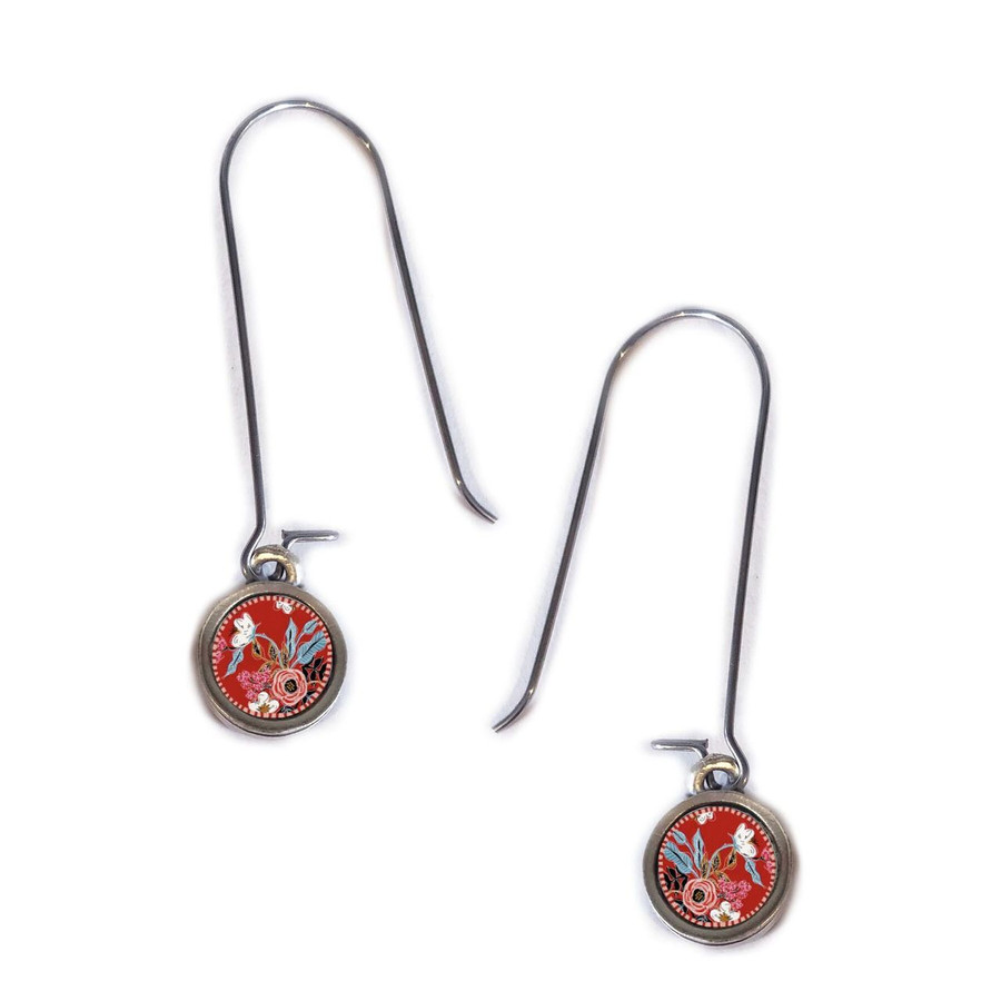 Red Flower Circle Earring