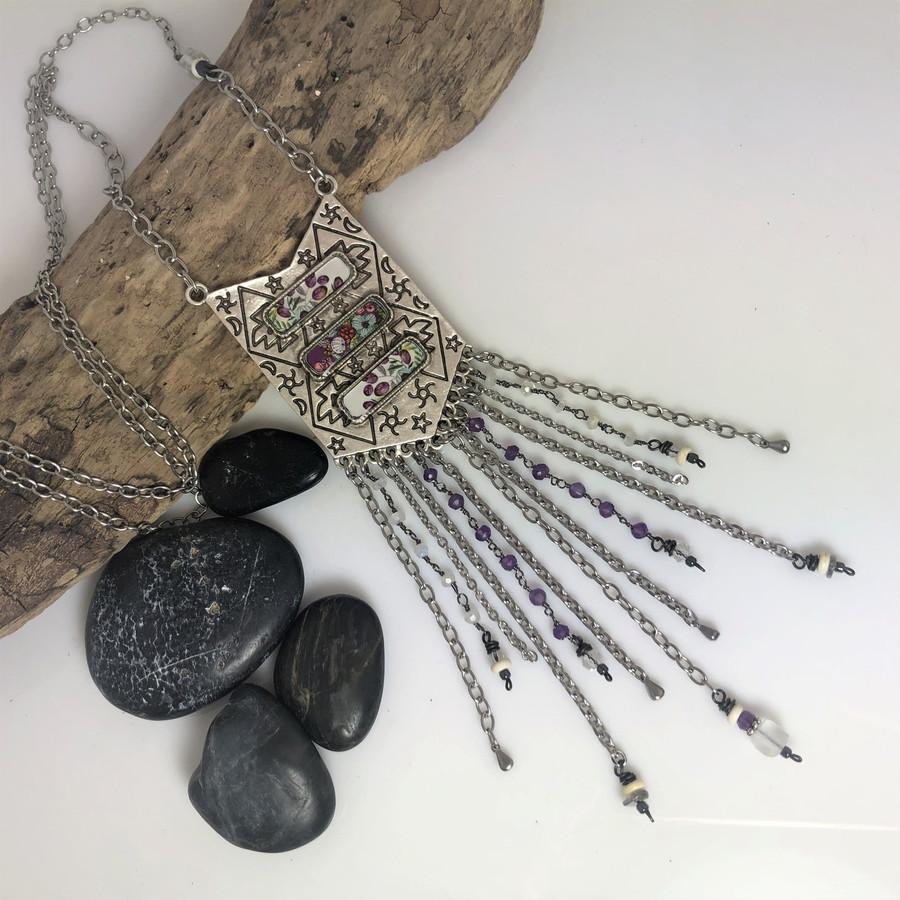 Triple Crystal Drop Organics Purple Flower Necklace