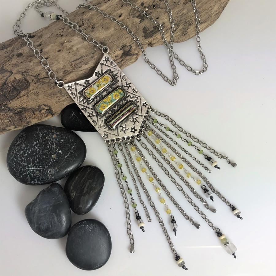 Triple Crystal Drop Organics Sunflower Necklace