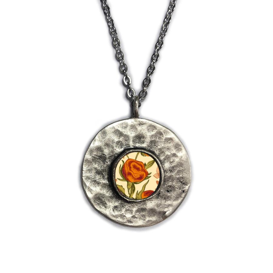 Orange Flower Brushed Circle Medium Organic Pendant