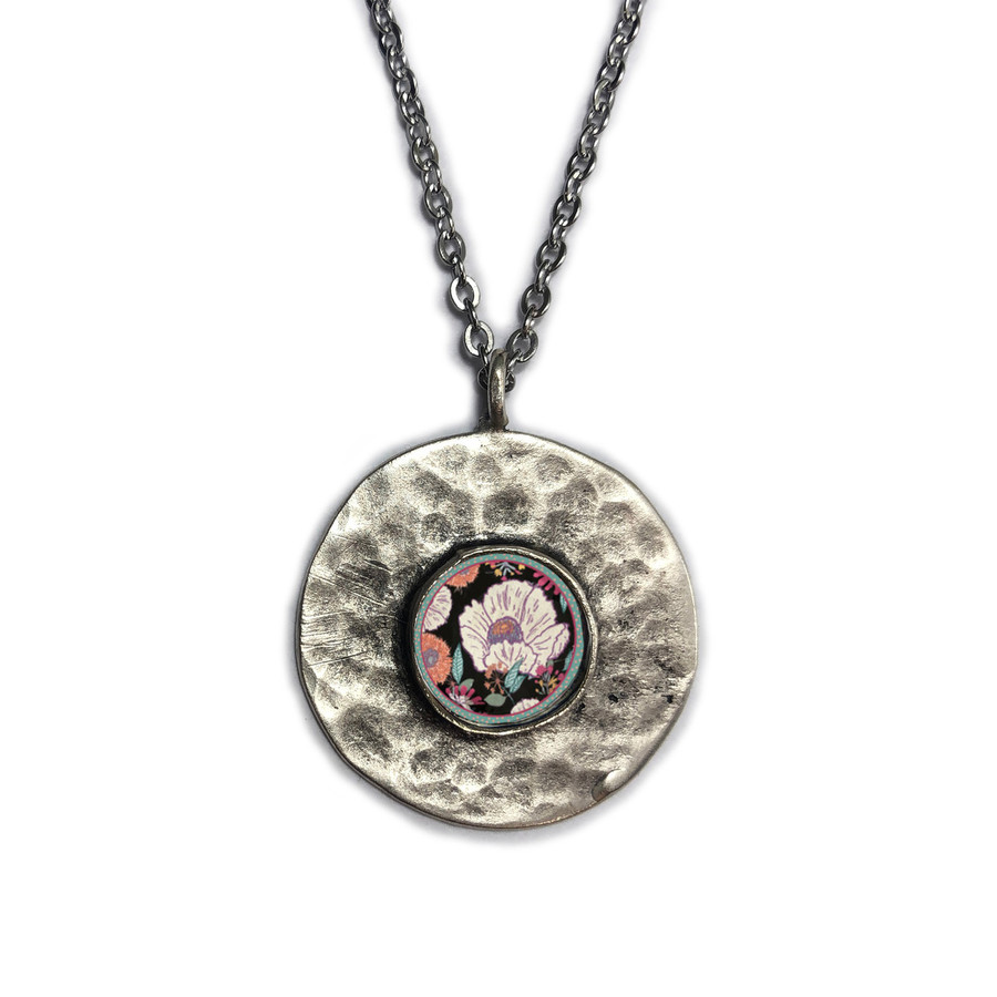 White Flower on Black Brushed Circle Medium Organic Pendant