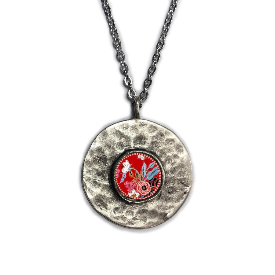 Red Flower Brushed Circle Medium Organic Pendant