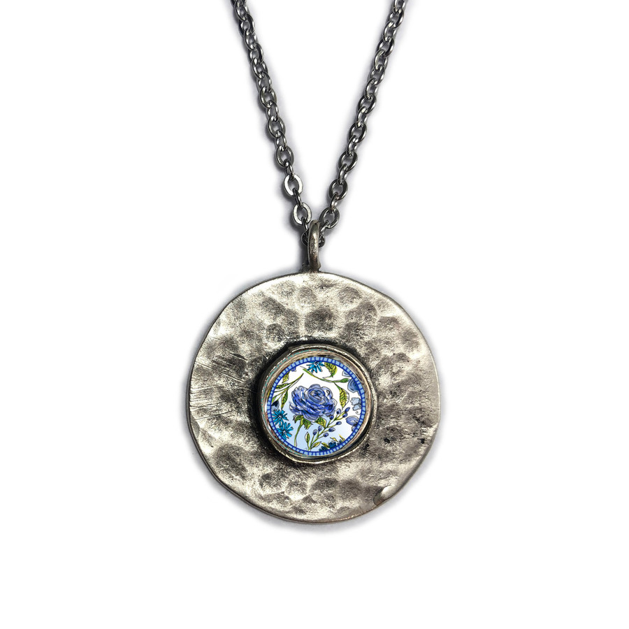 Blue Flower Brushed Circle Medium Organic Pendant