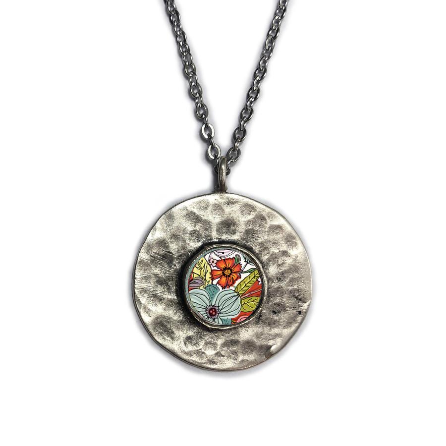 Turquoise and Red Flower Brushed Circle Medium Organic Pendant